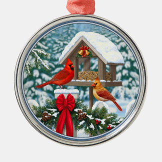 Cardinals and Christmas Bird Feeder Round Metal Christmas Ornament