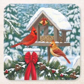 Cardinals and Christmas Bird Feeder Square Paper Coaster