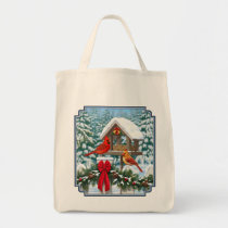 Cardinals and Christmas Bird Feeder Tote Bag