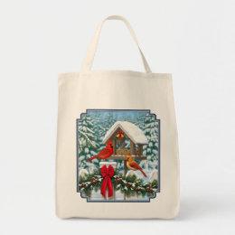 Cardinals and Christmas Bird Feeder Tote Bag