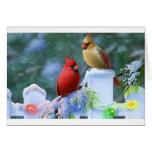 Cardinals and Christmas Lights Greeting Card