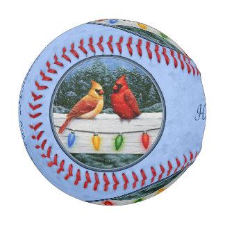 Cardinals and Christmas Lights Sky Blue Baseball