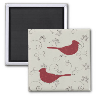 Cardinals and Flowering Vines Magnet