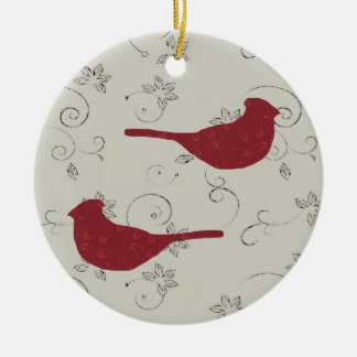 Cardinals and Flowering Vines Ornament