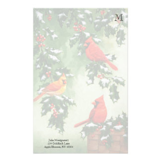 Cardinals and Holly Monogram Personalized Stationery