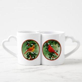 Cardinals and Holly Lovers Mug Set