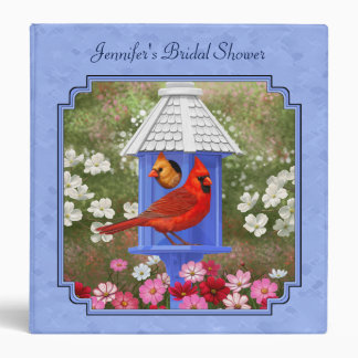 Cardinals and Round Birdhouse Blue 3 Ring Binder