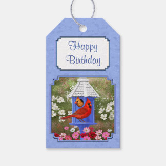 Cardinals and Round Birdhouse Blue Gift Tags