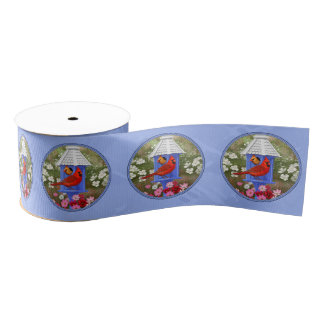 Cardinals and Round Birdhouse Blue Grosgrain Ribbon
