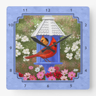 Cardinals and Round Birdhouse Blue Square Wall Clock