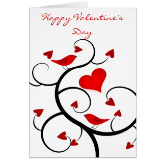 Cardinals and Vines Happy Valentine's Day Card