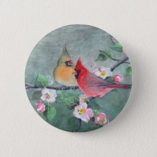 CARDINALS & APPLE BLOSSOMS by SHARON SHARPE Button
