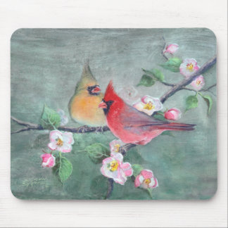 CARDINALS & APPLE BLOSSOMS by SHARON SHARPE Mouse Pad