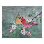 CARDINALS & APPLE BLOSSOMS by SHARON SHARPE Poster