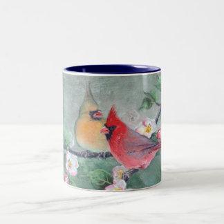CARDINALS & APPLE BLOSSOMS by SHARON SHARPE Two-Tone Coffee Mug