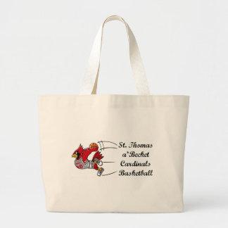 Cardinals basketball script tote bag