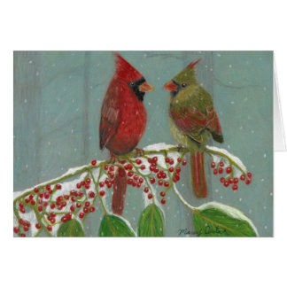 Cardinals by Autistic Artist Marcy Deutsch Card