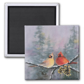 CARDINALS by SHARON SHARPE 2 Inch Square Magnet