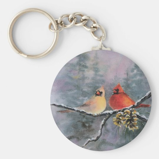 CARDINALS by SHARON SHARPE Keychain