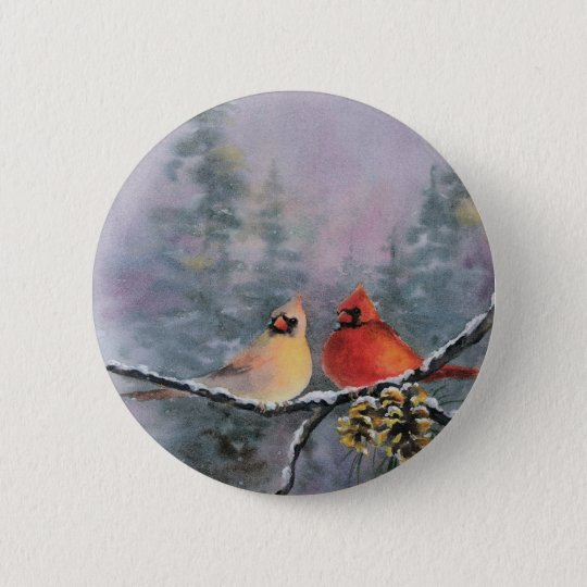 CARDINALS by SHARON SHARPE Pinback Button