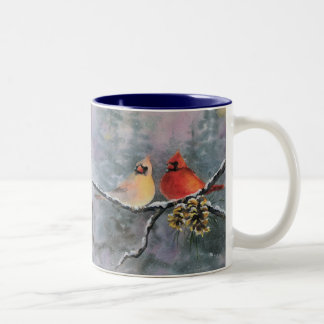 CARDINALS by SHARON SHARPE Two-Tone Coffee Mug