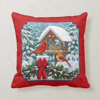 Cardinals Christmas Birdfeeder Red Throw Pillow