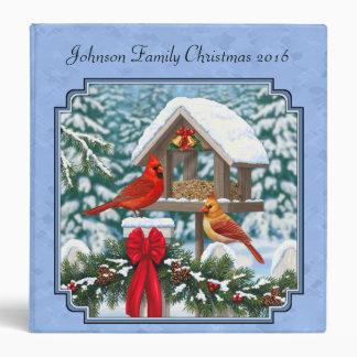Cardinals Christmas Feast Blue 3 Ring Binder