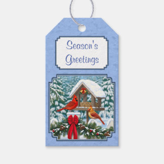 Cardinals Christmas Feast Blue Gift Tags