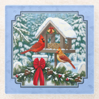 Cardinals Christmas Feast Blue Glass Coaster