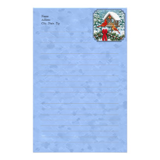 Cardinals Christmas Feast Blue Stationery