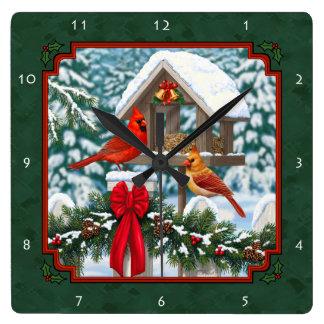Cardinals Christmas Feast Green Square Wall Clock