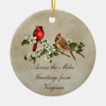 Cardinals Dogwoods Across The Miles Christmas Double-Sided Ceramic Round Christmas Ornament