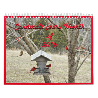 Cardinals for Every Month 2016-can change year Calendar