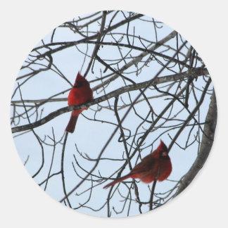 Cardinals in a Tree Round Sticker