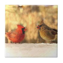 Cardinals in Autumn Ceramic Tile