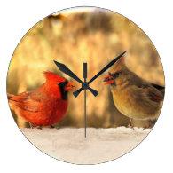 Cardinals in Autumn Clock