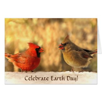 Cardinals in Autumn Earth Day Card