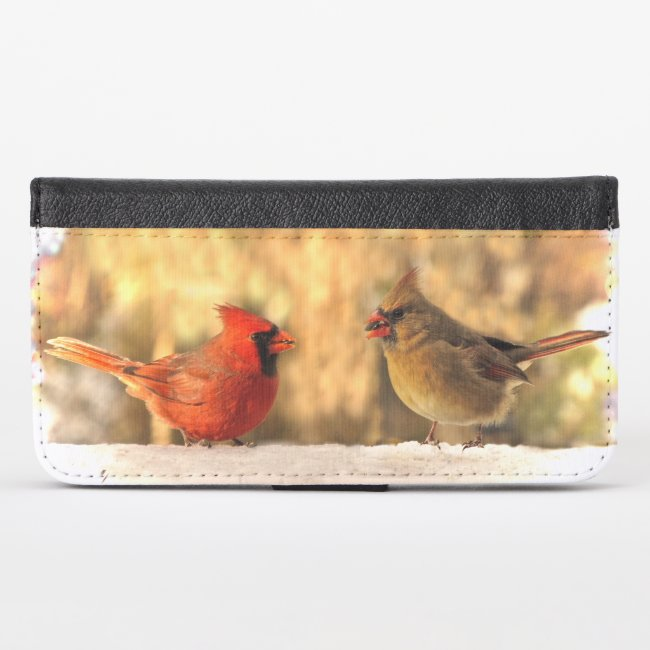 Cardinals in Autumn iPhone X Wallet Case