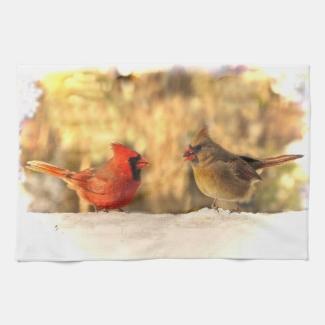 Cardinals in Autumn Kitchen Towel