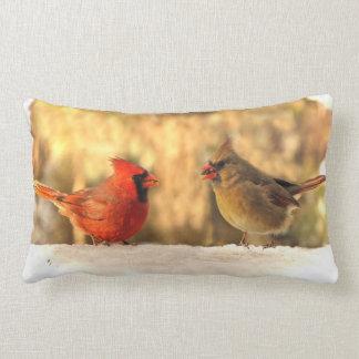 Cardinals in Autumn Lumbar Pillow