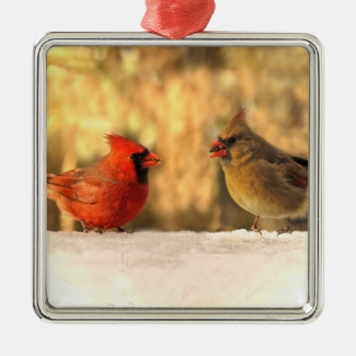 Cardinals in Autumn Ornament