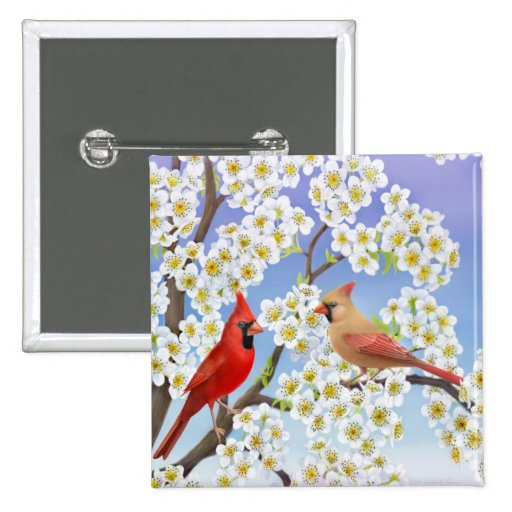 Cardinals in Flowering Tree Button
