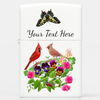Cardinals in Garden Flowers Zippo Lighter