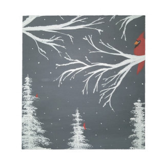 Cardinals in Snow Notepad