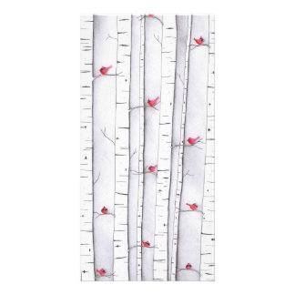 Cardinals in the Birches Card