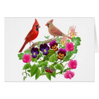 Cardinals in the Garden Card