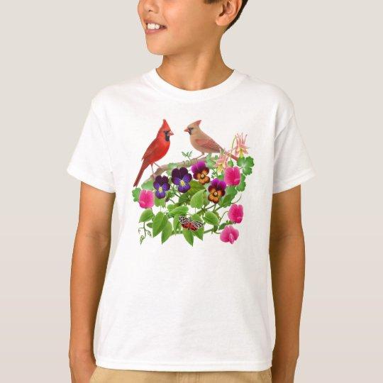 Cardinals in the Garden Kids T-Shirt