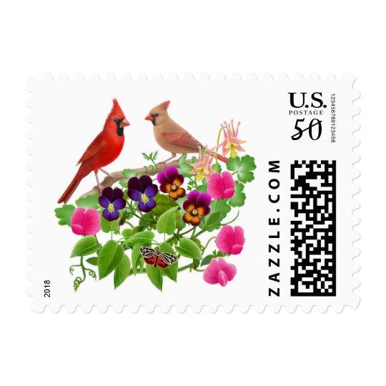 Cardinals in the Garden Postage