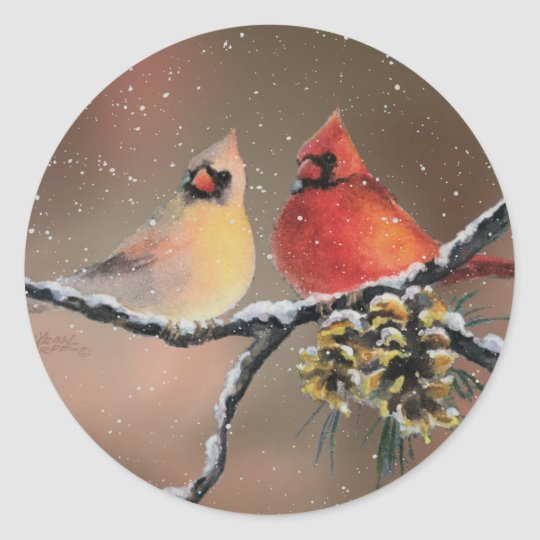 CARDINALS in the SNOW by SHARON SHARPE Classic Round Sticker