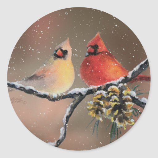 CARDINALS in the SNOW by SHARON SHARPE Sticker